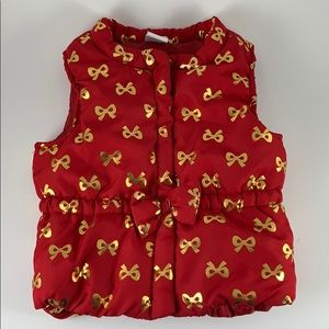 Toddler Ted Puffer Vest With Gold Bows 18 Mos
